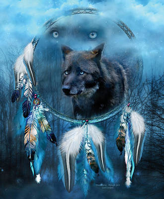 Mixed Media - Dream Catcher - Midnight Spirit by Carol Cavalaris