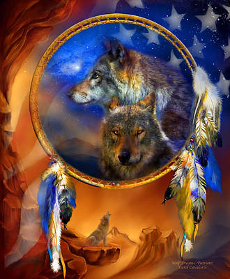 Mixed Media - Dream Catcher - Wolf Dreams Patriotic by Carol Cavalaris