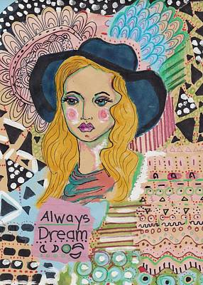 Mixed Media - Dream Girl by Rosalina Bojadschijew