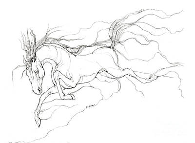 Running Horses Drawing - Dream Horse by Angel  Tarantella