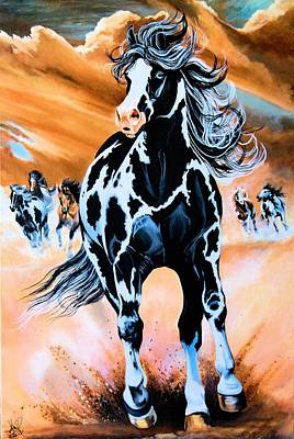Painting - Dream Horse Series 100 - Paint Horse Herd  by Cheryl Poland