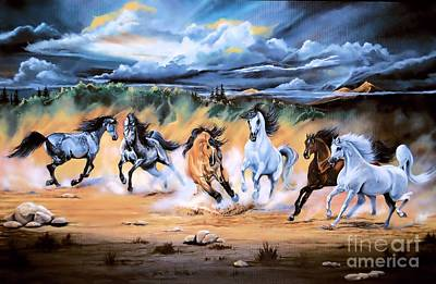 Painting - Dream Horse Series 125 - Flat Bottom River Wild Horse Herd by Cheryl Poland