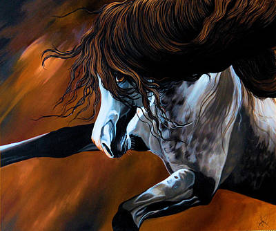 Painting - Dream Horse Series 155 - Wild Mustang Pawing The Air by Cheryl Poland