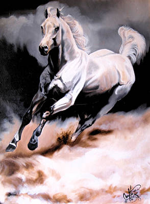 Painting - Dream Horse Series 20 - White Lighting by Cheryl Poland