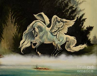 Painting - Dream Horse Series #206- A Pegasus In The Mist  by Cheryl Poland