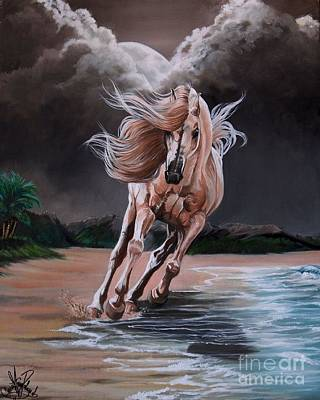 Painting - Dream Horse Series 261 - By Moon And By Sea by Cheryl Poland