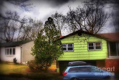 Photograph - Suburban Dream - House With Blue Car by Miriam Danar