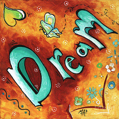Dream Inspirational Typography Art Original Word Art Painting By Megan Duncanson Original
