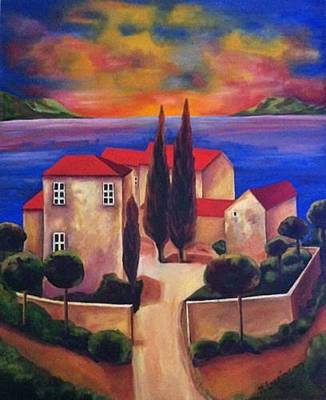 Tuscan Sunset Painting - Dream Island by Nancy Levinson
