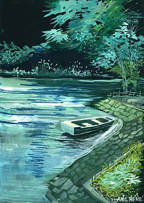 Rain Drawing - Dream Lake by Anil Nene