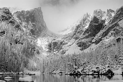 Flattop Mountain Photograph - Dream Lake Monochrome by Eric Glaser