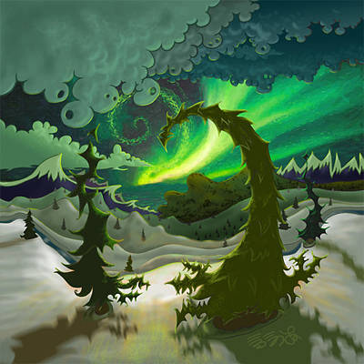 Painting - Dream Landscapes Aurora Green by EBENLO Artist