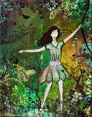 Dream Nature Inspired Mixed Media Folk Art Painting Of Young Girl Original