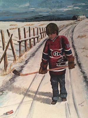Pond Hockey Painting - Dream Walking - Lil Hab by Ron  Genest