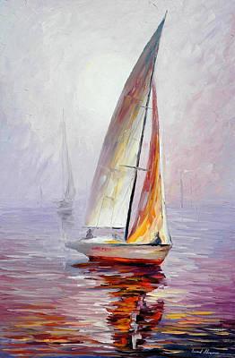 Dream Yacht - Palette Knife Oil Painting On Canvas By Leonid Afremov Original by Leonid Afremov