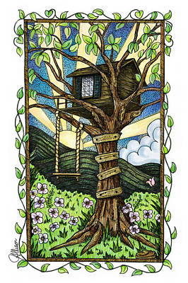 The Trees Mixed Media - Dreamhouse In A Tree by Jennifer Allison