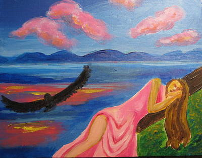 Art Print featuring the painting Dreaming At Eagle Lake by Diana Riukas