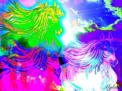 Painting - Dreaming Of Rainbow Horses by Saundra Myles
