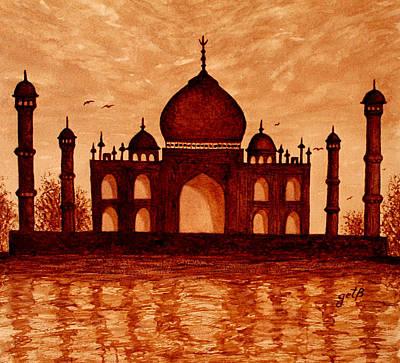 Taj Mahal Painting - Dreaming Of Taj Mahal Original Coffee Painting by Georgeta  Blanaru