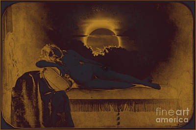 Dreaming Of The New Dawn. Reclining Nude Bathed In Blue. Art Print by Peter Mix and Gustave Le Gray