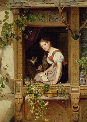 Reverie Photograph - Dreaming On The Windowsill by August Friedrich Siegert