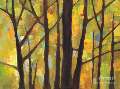 Autumn Landscape Painting - Dreaming Trees 1 by Hailey E Herrera