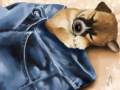 Sleeping Puppy Painting - Dreaming by Veronica Minozzi