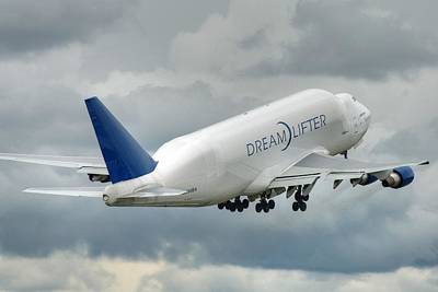 Art Print featuring the photograph Dreamlifter Takeoff 2 by Jeff Cook