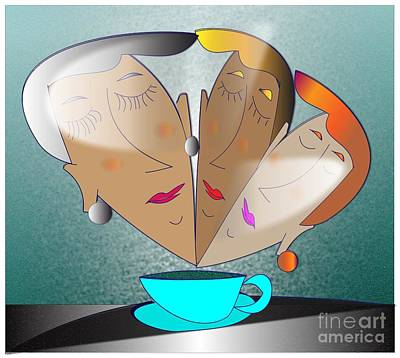 Art Print featuring the digital art Dreams Cafe by Iris Gelbart