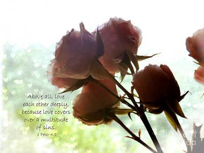 Dreams In Roses - Bokeh Hearts Art Print