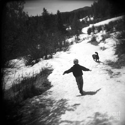 Holga Toy Camera Photograph - Dreams Of Our Childhoods Boy And His Dog Bw by Matthew Lit
