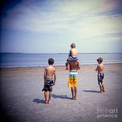 Holga Toy Camera Photograph - Dreams Of Our Childhoods Boys At The Beach by Matthew Lit