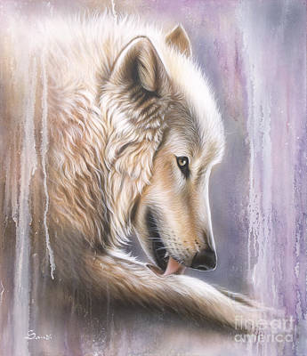 Arctic Wolf Painting - Dreamscape Wolf IIII by Sandi Baker