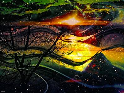 Abstract Seascape Digital Art - Dreamtime by Linda Sannuti