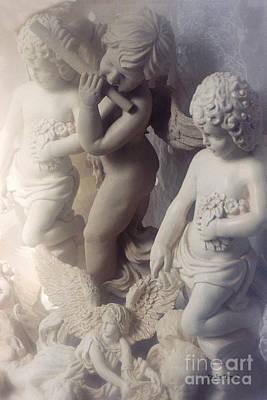 Cherub Photograph - Dreamy Angel Art Cherubs And Angel Statues  by Kathy Fornal
