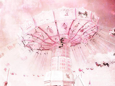 Photograph - Dreamy Baby Pink Carnival Fair Ferris Wheel - Baby Girl Nursery Room Carnival Prints by Kathy Fornal