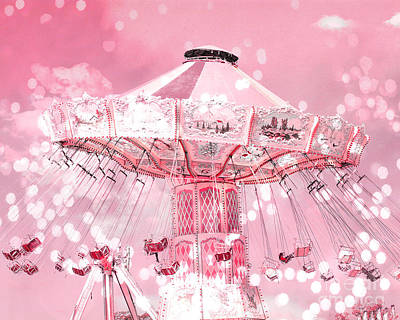 Photograph - Dreamy Baby Pink Carnival Fair Ferris Wheel Swing Ride - Baby Nursery Child Room Ferris Wheel Photos by Kathy Fornal