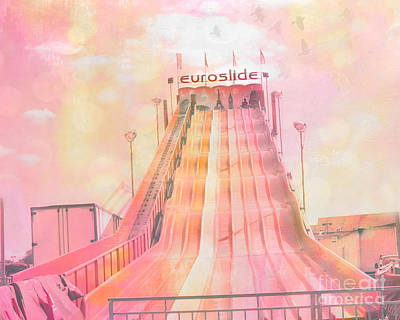Pink Of Carnival And Festivals Ferris Wheels Photograph - Dreamy Baby Pink Carnival Ride - Euroslide by Kathy Fornal