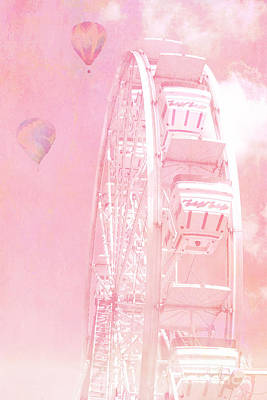 Photograph - Dreamy Baby Pink Ferris Wheel Carnival Art With Hot Air Balloons by Kathy Fornal