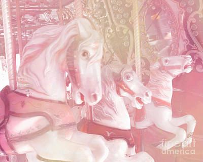 Dreamy Baby Pink Merry Go Round Carousel Horses - Dreamy Pink Carousel Horses Print by Kathy Fornal