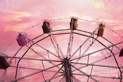 Festival Art Photograph - Dreamy Baby Pink Sky Ferris Wheel Carnival Art by Kathy Fornal