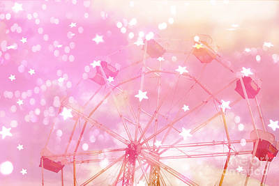 Surreal Pink Carnival Photograph - Dreamy Baby Girl Pink Yellow Carnival Festival Ferris Wheel Circles And Stars Art by Kathy Fornal