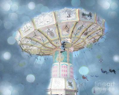 Dreamy Blue Surreal Carnival Festival Ferris Wheel Blue Bokeh - Baby Blue Dreamy Ferris Wheel Photo Art Print