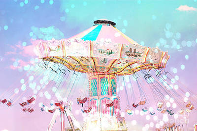 Surreal Pink Carnival Photograph - Dreamy Carnival Ferris Wheel Ride - Baby Pink Aqua Teal Ferris Wheel Festival Ride by Kathy Fornal