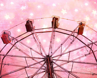 Surreal Pink Carnival Photograph - Dreamy Carnival Ferris Wheel Stars - Ferris Wheel Pink And White Fairytale Prints  by Kathy Fornal