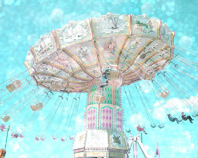 Surreal Ferris Wheel Photograph - Dreamy Carnival Ferris Wheel Swing Ride Aqua Teal Blue Bokeh Circles Hearts Decor by Kathy Fornal