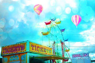 Dreamy Carnival Ferris Wheel Ticket Booth Hot Air Balloons Teal Aquamarine Blue Festival Fair Rides Art Print by Kathy Fornal