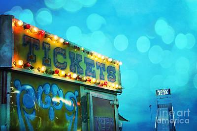 Dreamy Carnival Festival Ticket Booth Stand - Teal Aquamarine Blue Carnival Festival Fun Slide Photo Art Print