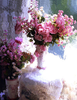 Dreamy Cottage Chic Impressionistic Flowers - Pink Roses Pink Vases Art Print by Kathy Fornal