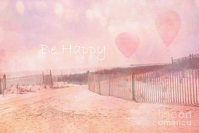 Pale Pink Coastal Photograph - Dreamy Cottage Chic Summer Beach Typography by Kathy Fornal